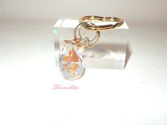スワロフスキー オーロラシャンデリア ハーキマーダイヤモンド キーリングの画像