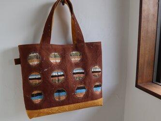 柿渋帆布+手織りトートバッグ(ご注文品)の画像