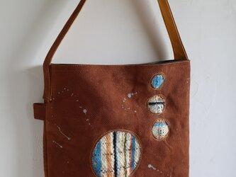 柿渋帆布+手織りショルダーバッグ(ご注文品)の画像