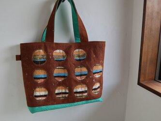 柿渋帆布+手織りトートバッグの画像