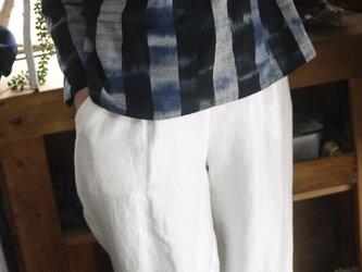 藍染久留米絣襟付きブラウスの画像