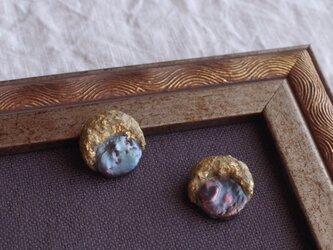 月と真珠の耳飾り -A- 本金箔/真鍮 f-93-4の画像