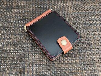 巾85mmフラットになるマネークリップ カード4枚+マルチポケット 札ばさみ MC-10brbn ヌメ革 黒&赤茶染めの画像