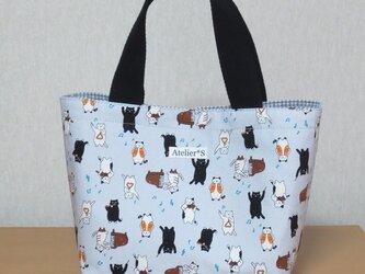 ミニトートバッグ★ネコと楽器柄(グレー)の画像