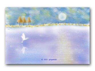 「雲の声を聴きに行こう」シロサギ 鳥 ほっこり癒しのイラストポストカード2枚組 No.1316の画像
