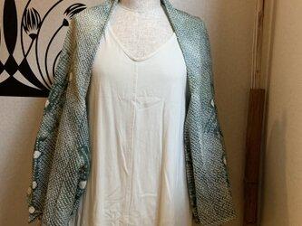春の新作 絞りの羽織から作ったボレロ 翡翠の画像