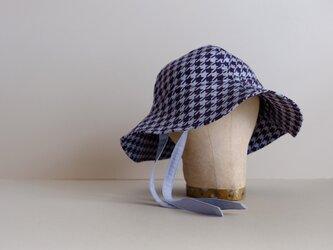春の新作・帽子 / チューリップハット / コットンプリント【 バイオレット&ブルーグレー / 千鳥格子 】の画像