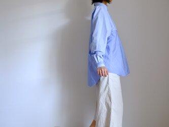 春の新作・切り替えプルオーバーシャツ/ M / コットン シャンブレー【 サックスブルー2トーン 】の画像