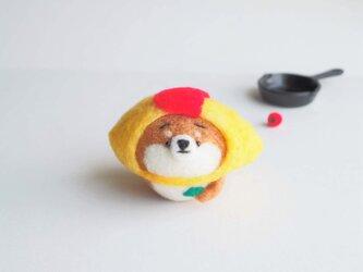 【受注製作】なりきりオムライスのまゆ柴犬(赤柴・黒柴・白柴)~パセリを添えて~  羊毛フェルトの画像