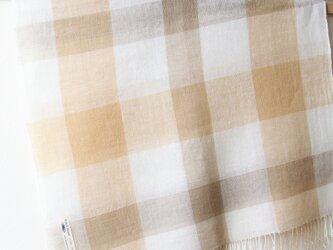 手織り・草木染め リネン大判ストール 黄色チェックの画像