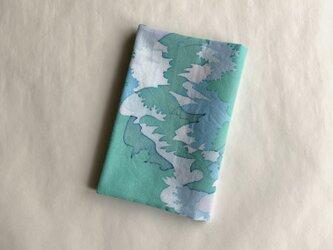 ろうけつ染ブックカバー(文庫用・木綿・緑系)の画像