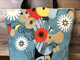 大きなトート 刺繍花とねこ 受注製作の画像