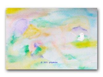 「春、釣れるかな^^」白くま シロクマ ほっこり癒しのイラストポストカード2枚組 No.1317の画像
