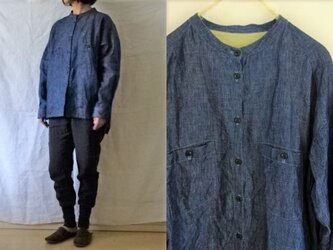【受注制作】インディゴリネンデニム 胸ポケバンドカラーシャツの画像