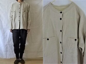 【受注制作】麻ベージュ/天日干し40リネン 胸ポケバンドカラーシャツの画像