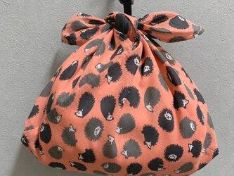 手縫いのあずま袋【ハリネズミサーモンピンク】の画像