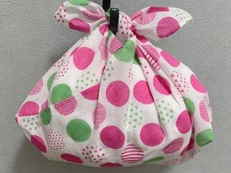 手縫いのあずま袋【水玉ピンク】の画像