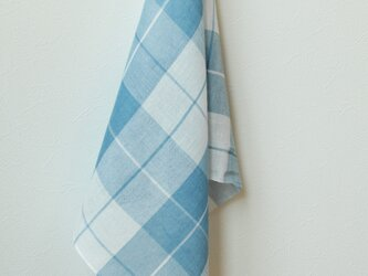 手織り・草木染め コットン×リネンプチスカーフ ブルーチェックの画像