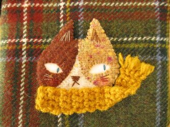 M様ご予約品 猫の(黄色マフラー)カードケースの画像