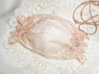 ♥♥不織布マスクだって、オシャレに着用したいという方に!!♥♥サーモンピンクレースの不織布マスクカバーです・・・^^♥♥の画像
