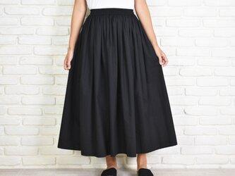 大人のふんわりギャザーロングスカート ブラックの画像
