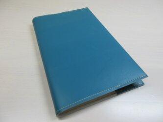 新書サイズ、コミック対応・ターコイズブルー・ゴートスキン・一枚革のブックカバー・0533の画像