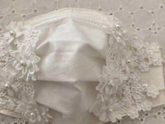 不織布が見えるマスクカバーリネンケミカルフラワーレース2way抗菌クレンゼの画像