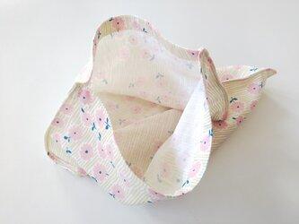 袋ハンカチ  小花  ベージュ×ピンクの画像