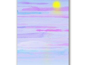 「念(おも)いと惟(おも)いに問われて」夕日 雲 ほっこり癒しのイラストポストカード2枚組 No.1318の画像