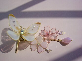 モンシロチョウと桜(ヘアフック)の画像