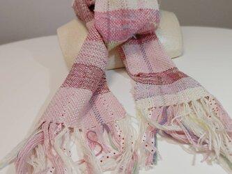 さくらピンク色 お花のダンス 手織り マフラー MUF107C シルク ウール ファンシー ラメ糸   プレゼントの画像