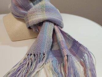 ラベンダー色 お花のダンス 手織り プチマフラー MUF108C シルクウール ファンシーヤーン ラメ糸  プレゼントの画像