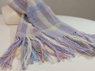 ラベンダー色 お花のダンス 手織り プチマフラー MUF109C シルクウール ファンシーヤーン ラメ糸  プレゼント の画像
