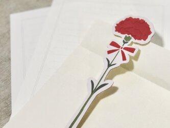 ほんのりかおる 切り絵の一輪文香「カーネーション」(2枚入り)の画像