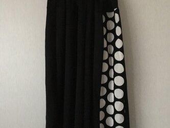 水玉切替サルエルパンツ 黒×黒白大玉水玉Fの画像