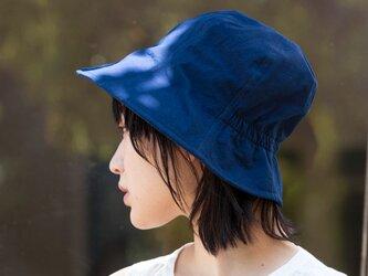 藍染ポプリンチューリップハット Mサイズ【OrganicCotton】の画像
