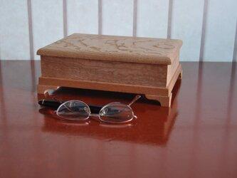 ケヤキ玉杢蝶番付き小箱の画像