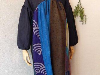 着物・浴衣ヨーク切り替えワンピース ブルーの画像