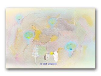 「休むことも人生の仕事だね」白くま ハリネズミ ほっこり癒しのイラストポストカード2枚組 No.1320の画像