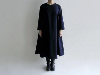 久留米紬織のフレアワンピース(紺色)【送料無料】の画像