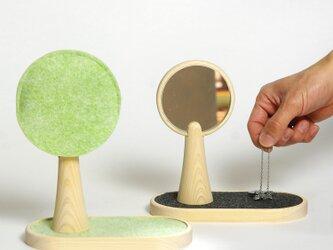 広葉樹のような手鏡/アクセサリートレイ付き/5カラー【DESK TOWN】の画像