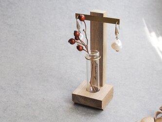 彫刻可) 一輪挿し + ピアス スタンド ディスプレイ インテリア 撮影 什器の画像