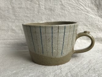 KKさまご検討品 粉引きのマグカップ (青茶ライン柄)の画像