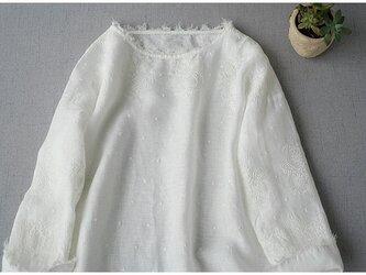 ★SALE★リネン100%素材、素敵な総刺繍シンプルな長袖ワンピース♪の画像
