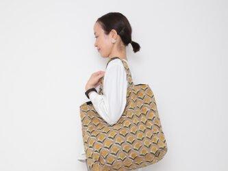 Hand block print kinchaku bag / hana kiiroの画像