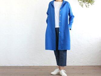 リネン ショールカラー 2wayシャツコート 羽織り (ロイヤルブルー)の画像