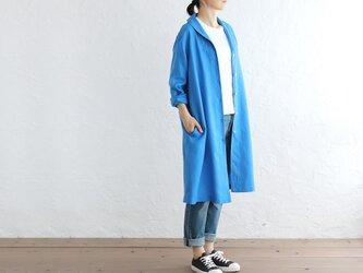 リネン ショールカラー 2wayシャツコート 羽織り (ブルー)の画像