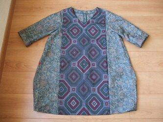 紬2種を組み合わせたシャッキリ紬バルーンチュニック 絹の画像
