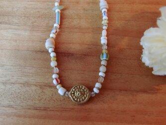 *happy price*古のネックレス。@クリスマスビーズ+エチオピアンブラス、インドのブラスモチーフビーズの画像