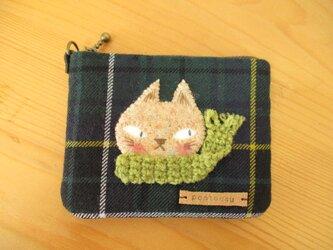 M様ご予約品 猫(薄茶色・きみどりマフラー)のカードケースの画像